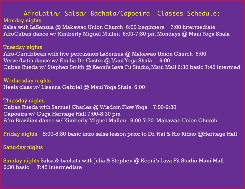 Salsa Class schedule